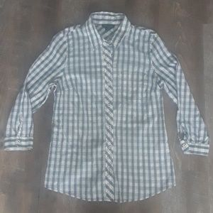 Lucky Brand Plaid Button Down Shirt 3/4 Sleeves